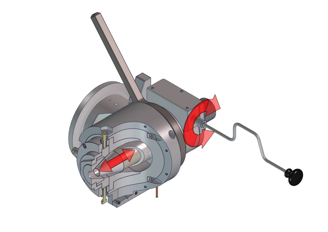 Guill Series 500 crosshead with Mechanically Assisted Gum Space (MAGS) adjustment…specially designed for the flow characteristics of elastomeric compounds