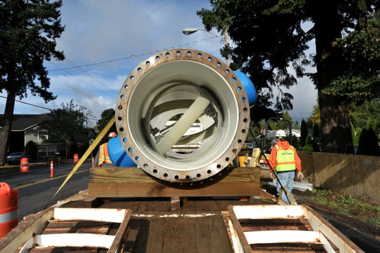 The installation of the system at SW 147th Avenue and Powell in Portland, Oregon. Photo Credit: Sherri Kaven.