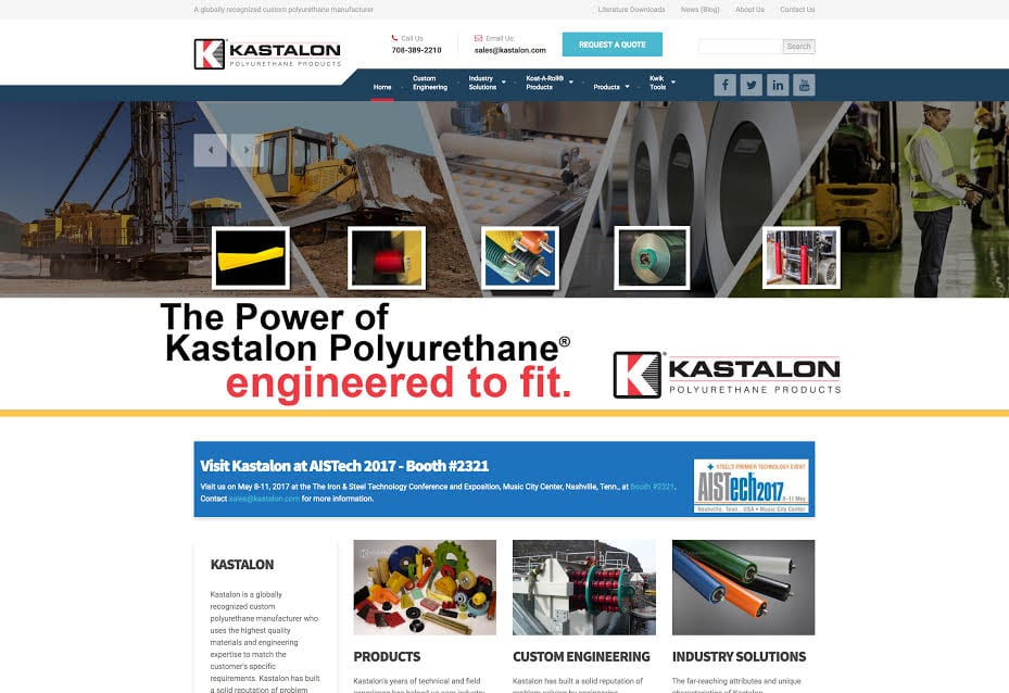 Kastalon Website Screenshot - polyurethane