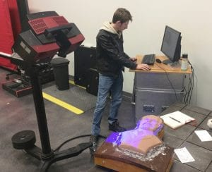Exact Metrology scanning the sculpture