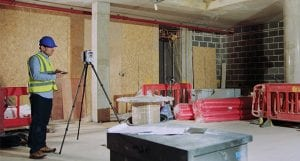 Leica laser scanner used in building construction environments