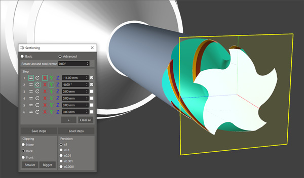 ANCA CIM3D Software - advanced sectioning plane